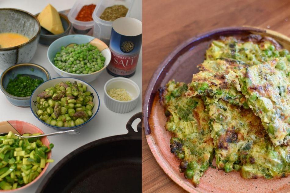 ingredienten voor prei asperge erwten frittata